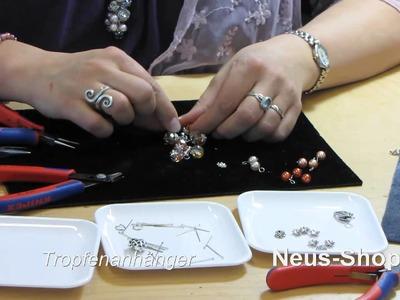 Anleitung Modeschmuck Glasperlen Kette Herz Abakus Perlen Tropfenanhänger