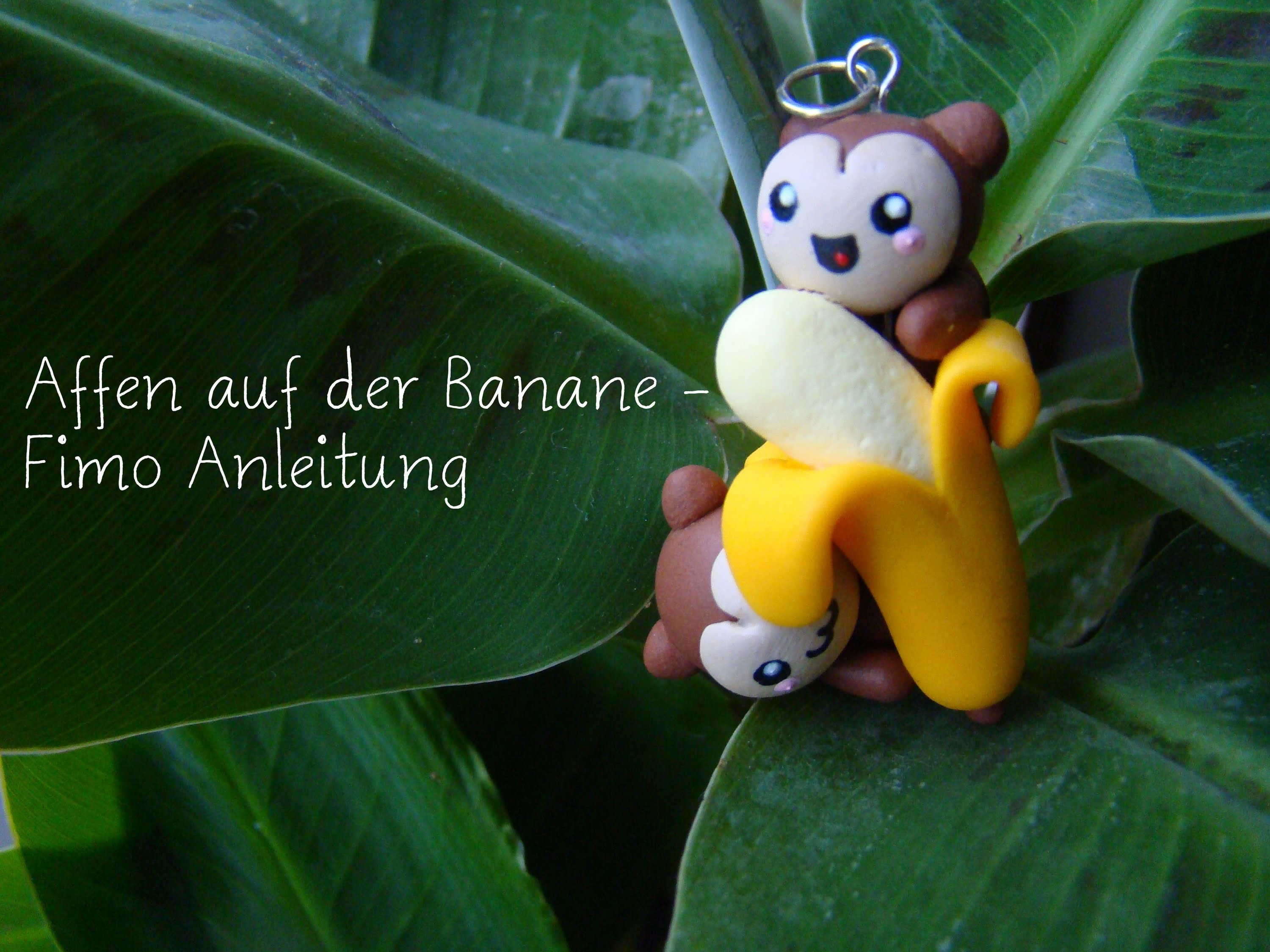 Affen auf der Banane Fimo Tutorial. Monkeys on a banana polymer clay tutorial | Anielas Fimo