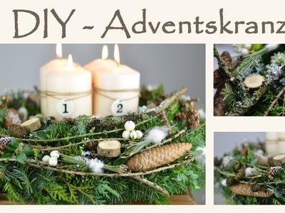 DIY - Adventskranz natürlich schön im Shabby Naturlook mit einem Hauch weiß