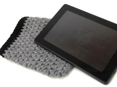 Häkeln Tablet Hülle Wolle E-Book Reader einfach für jede Größe halbe Stäbchen easy