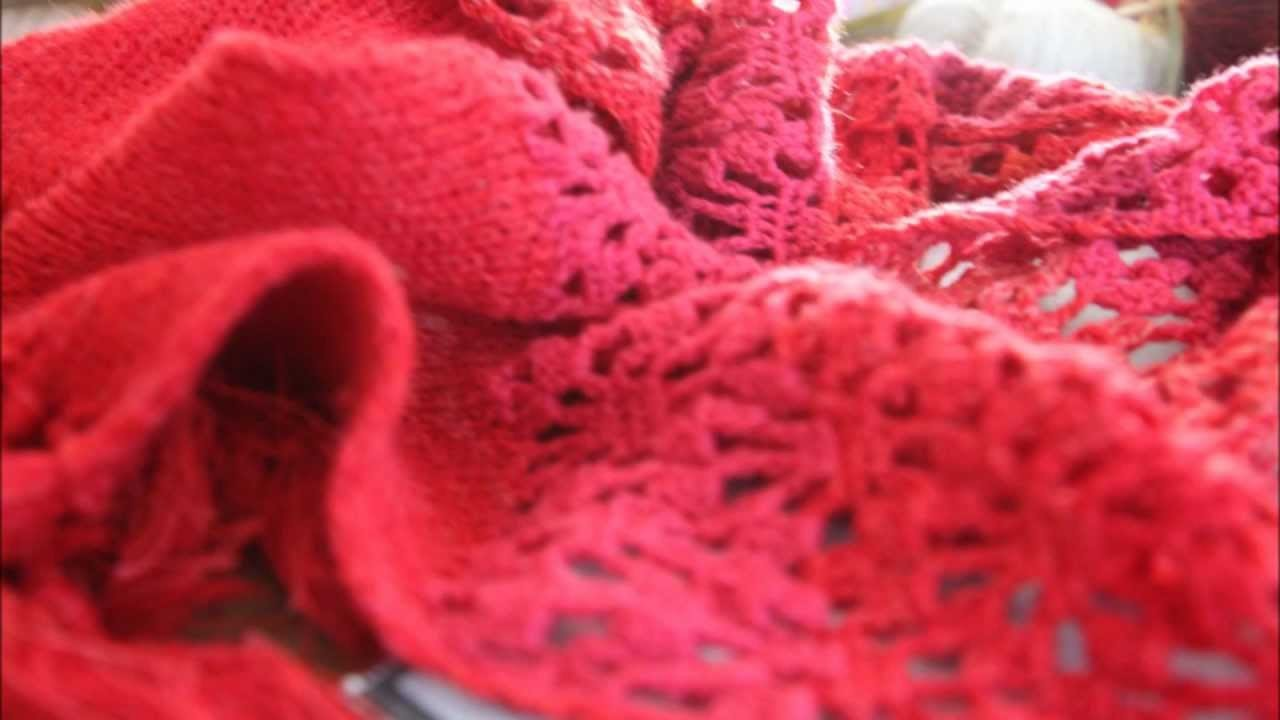 How to - chrochet and knit a red scarf - tutorial