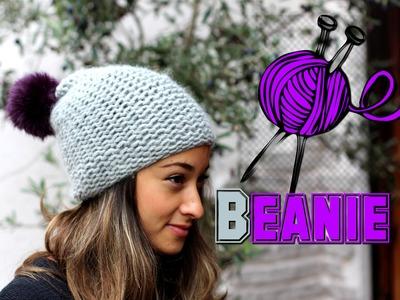 Mütze stricken lernen für Anfänger - Beanie. Wollmütze mit Bommel - Anleitung - Tutorial. DIY