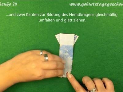 Origami Geldschein-Hemd falten