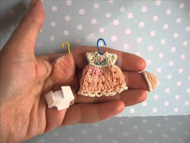 Handmade tiny knitted outfit for miniature OOAK baby doll by mam-m-mi