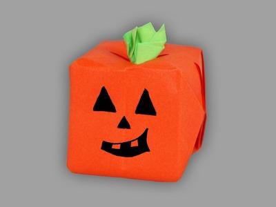 Origami Kürbis (Halloween) - Faltanleitung (Live erklärt)