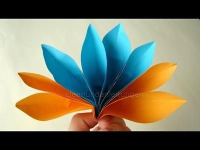 Papier falten: Origami Blume basteln - Einfache Blüte - Frühlingsbasteln