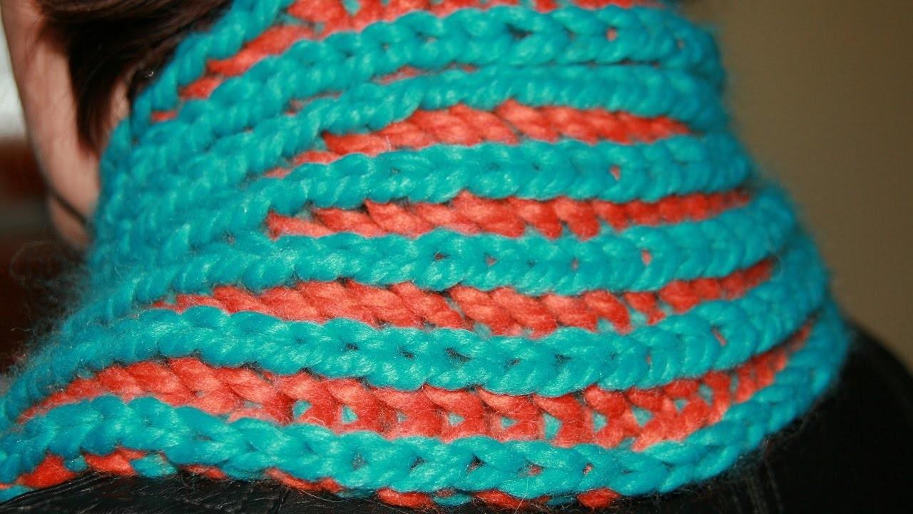 Schal oder Loop mit Patentmuster zweifärbig stricken