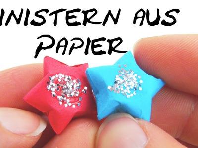 Weihnachten Deko Stern 3D mit Glitzer Faltanleitung . Paperstar Origami Tutorial | deutsch