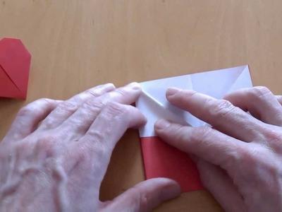 Wie falte ich ein Herz mit Ständer zum aufstellen? Origami Anleitung