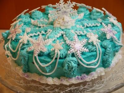 DIY FROZEN Elsa Cake Torte Tutorial Schneeflocke mit Buttercreme Frosting