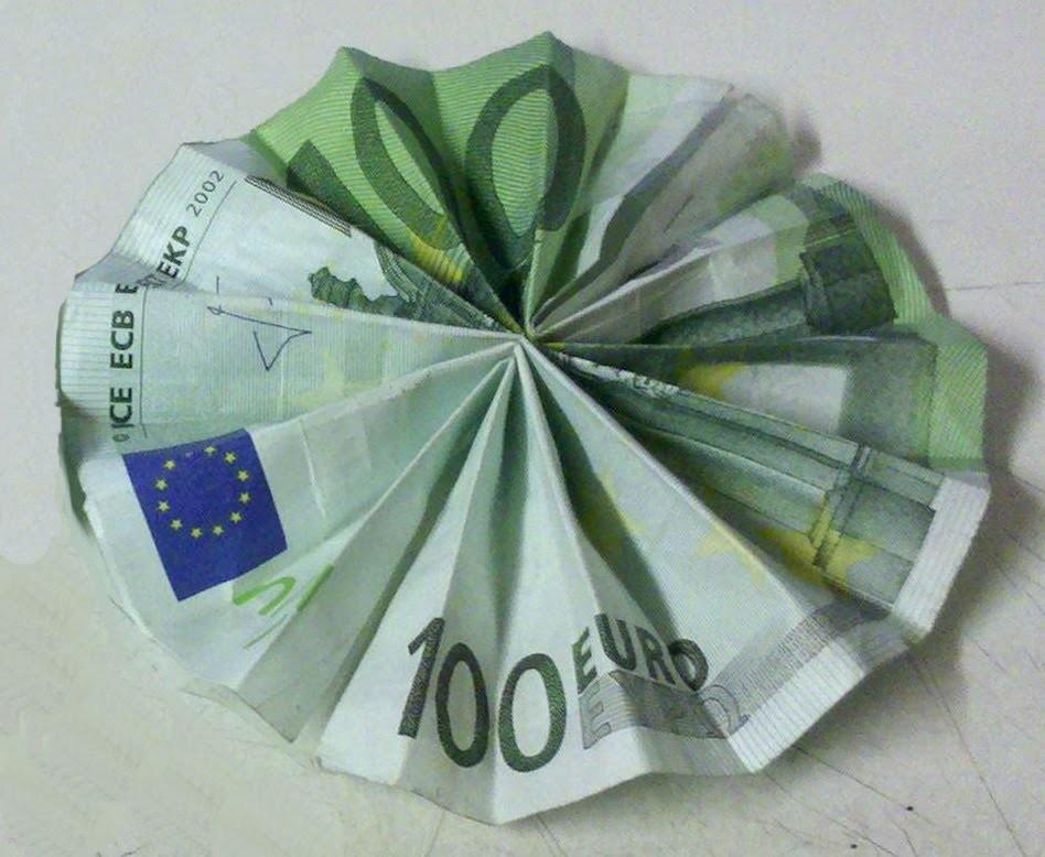 Geldscheine falten: Sonne - kreatives Geldgeschenk