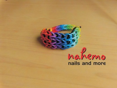 Loom Band. Loomie Band - Dreifach-Armband in Regenbogen-Farben [Rainbow-Triple-Single-Band]