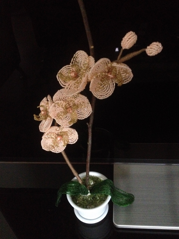 Orchidee aus Glasperlen. Teil 3.3. Blumen aus Perlen. Flowers out of beads. Anna's Perlen.