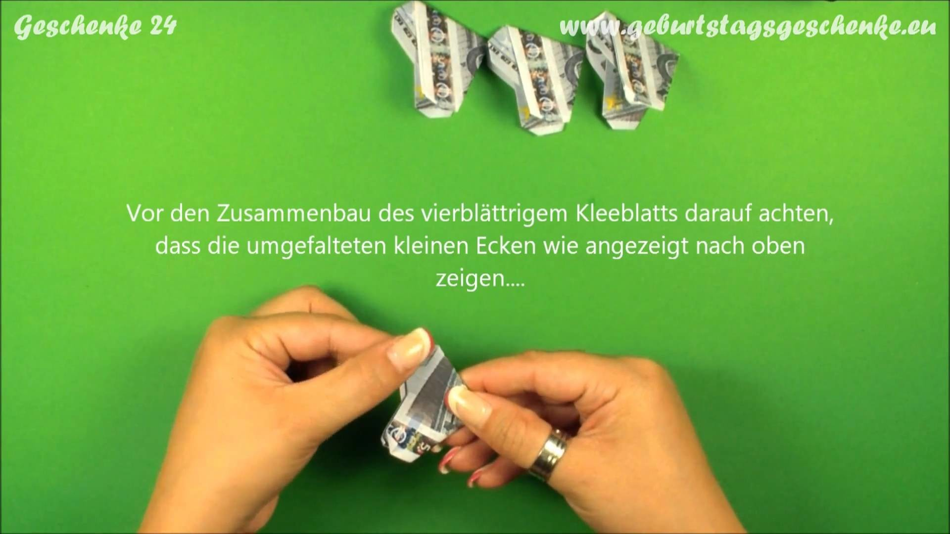 Origami Geldschein-Kleeblatt falten