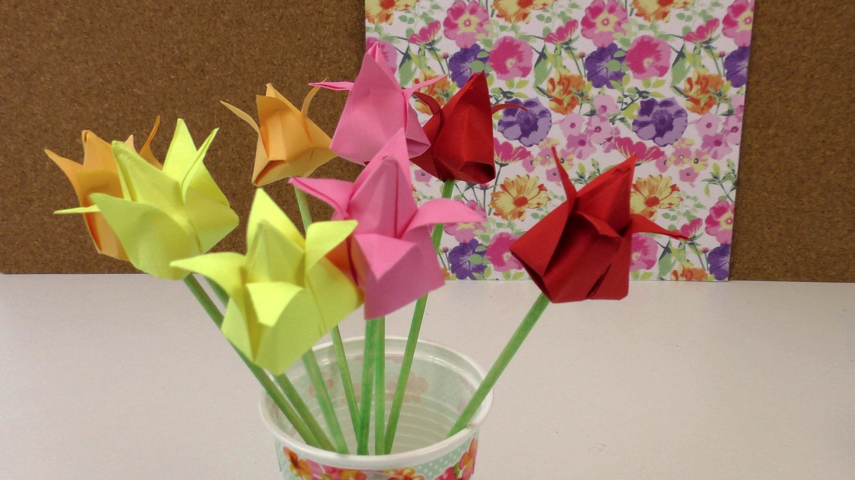 Origami Tulpen DIY. Blumen falten Anleitung. Deko einfach und schnell. Flower Origami deutsch