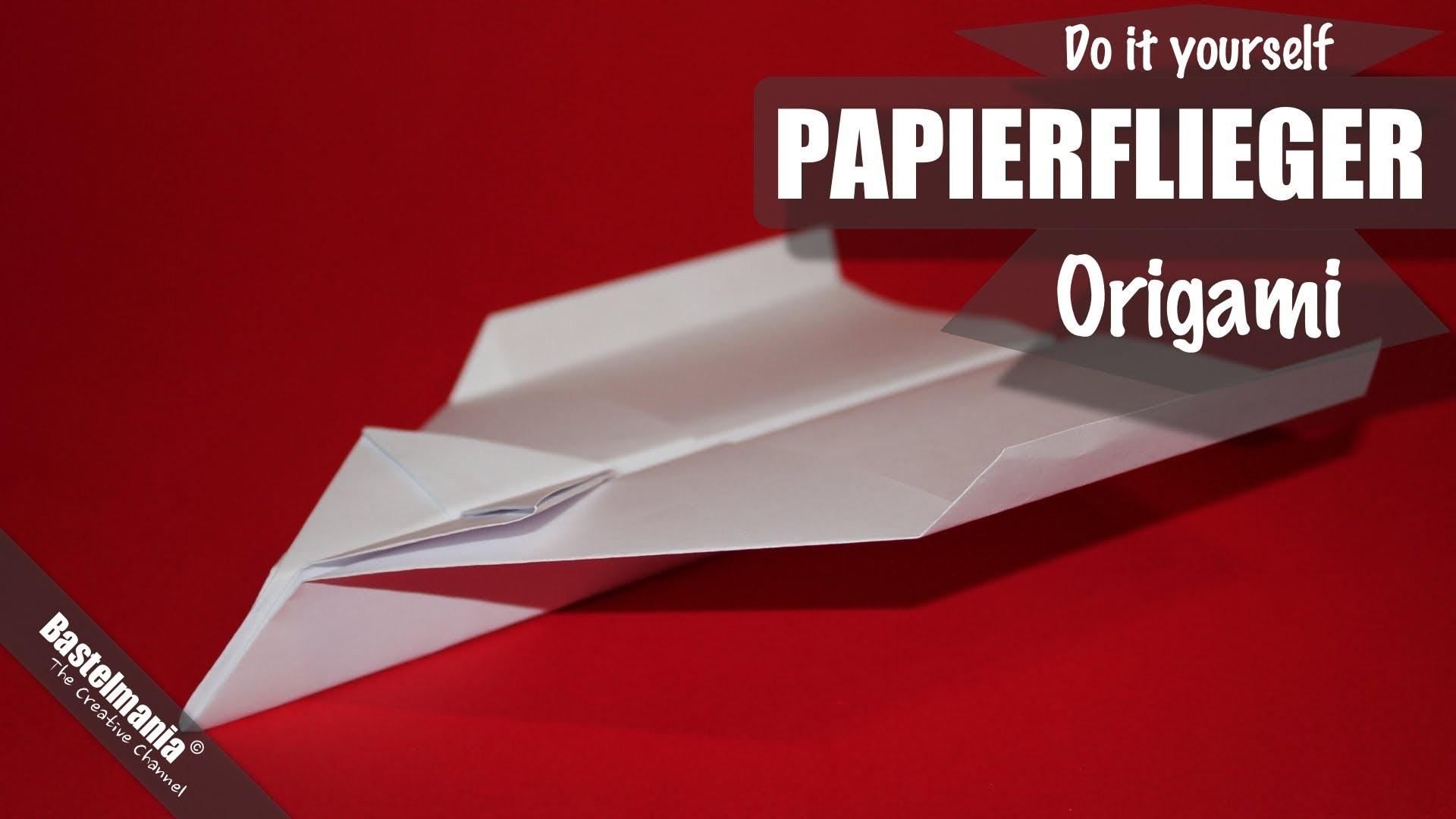 Papierflieger falten. Papierflugzeug Origami Anleitung. Paper Airplane