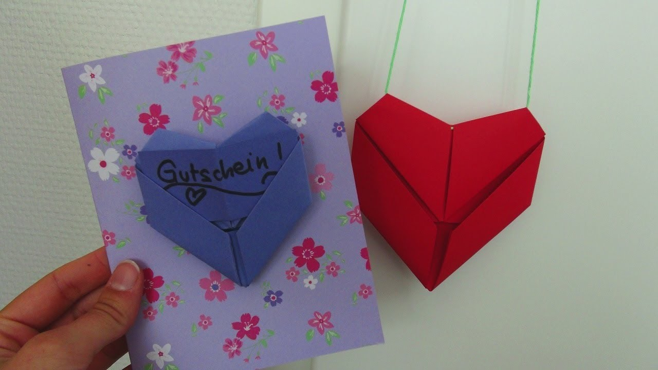 DIY Deko - Herzchen falten, Geldgeschenk oder Gutschein. Herz-Origami