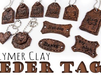 [FIMO Tutorial] Leder Imitat Anhänger | Faux Leather Tags | Geschenkidee für Männer ;)