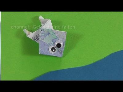 Geldscheine falten Frosch für Geldgeschenke