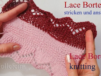 Lace Bordüre stricken und anstricken - Knitting on Lace Border 3