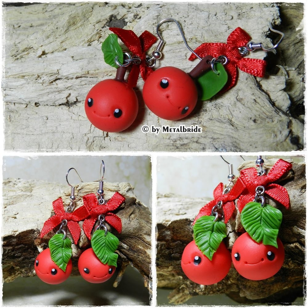 Let´s knet - Polymer Clay.Fimo Tutorial Kawaii Cherry earrings