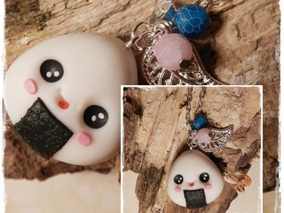 Let´s knet - Polymer Clay.Fimo Tutorial Kawaii Onigiri necklace