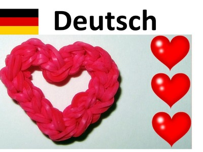Loom Bandz Anleitung Deutsch: Herz. Rainbow Loom. Loom bands Armband