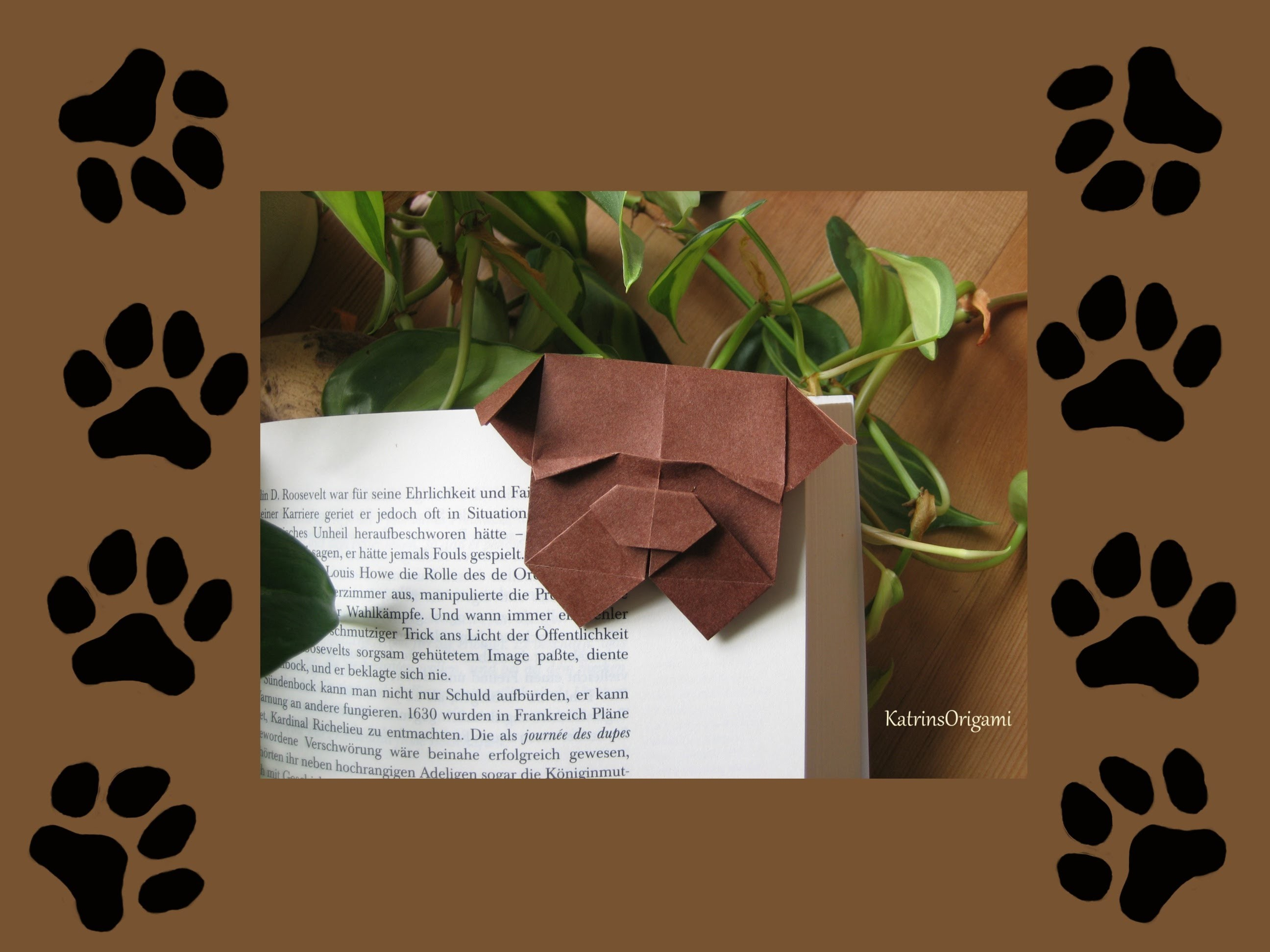 Origami ♦ Bulldog Bookmark ♦