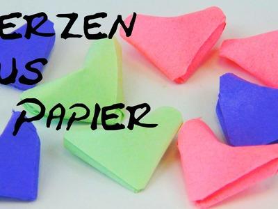 Origami Herz falten aus Papier DIY Anleitung. Origami Heart folding instructions Tutorial