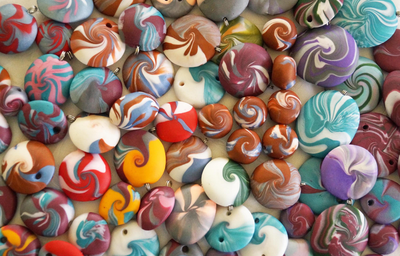 Swirl Perlen aus Pardo , Polymer Clay Beads
