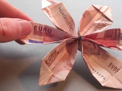 Bastelanleitung: Blume aus Geld falten - Blume aus Origami machen