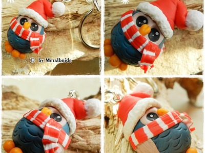 Let´s knet - Polymer clay.Fimo Tutorial Christmas Owl keychain