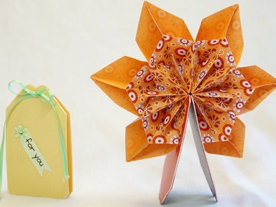 Mini Pop Up Karte 360° mit Origami, Fleurogami Blume.  Pop Up Card.