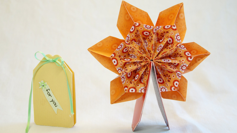 Mini Pop Up Karte 360° mit Origami, Fleurogami Blume.  Pop Up Card.