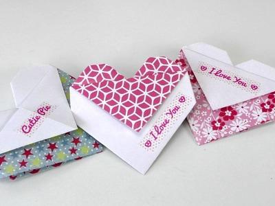 Origami Herz falten DIY Geschenk, Tasche oder Umschlag - einfach und schnell - deutsch