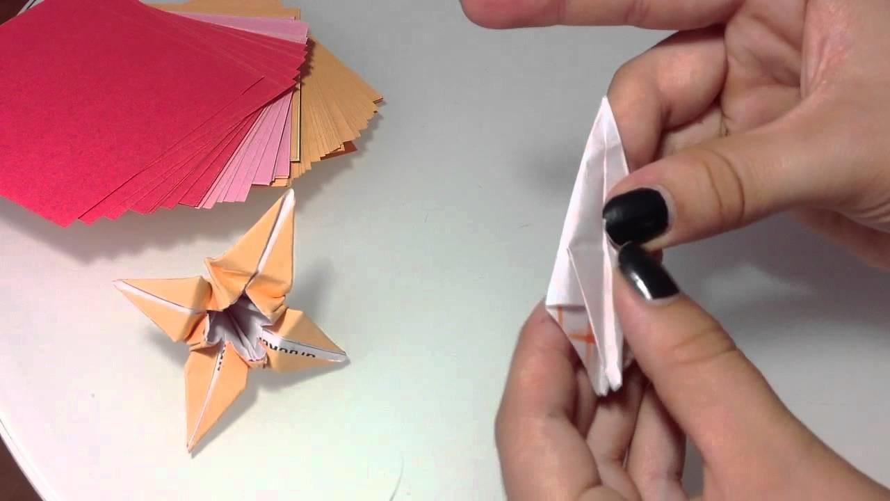 Origami Lilie falten. Papier Lilie - Faltanleitung