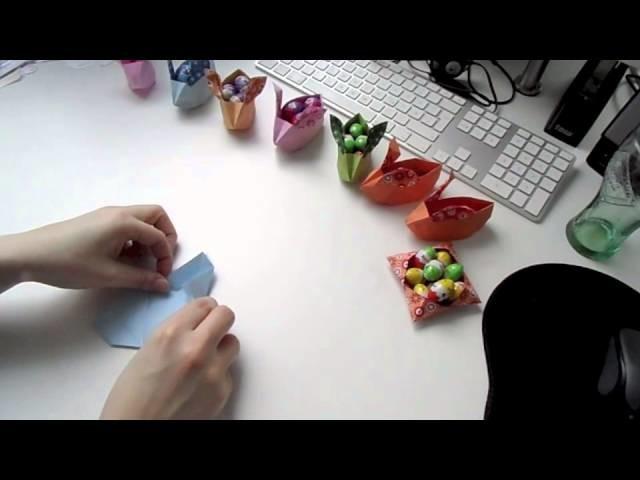Origami Osterhasenkörbchen