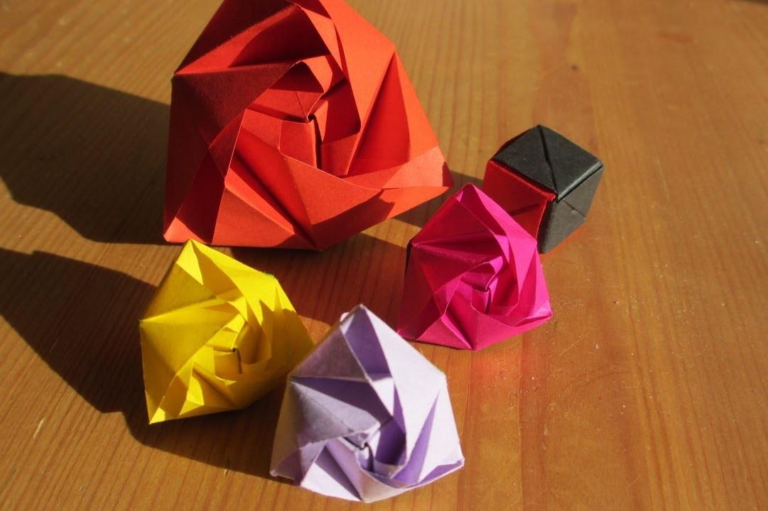 Origami Rose - Würfel Faltanleitung Teil1