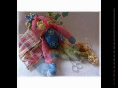 """Puppen Stricken Häkeln Lesezeichen Blumen Kinderlieder  Kochlied """"Knit Dolls"""""""