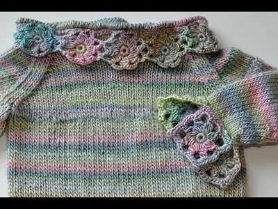 """Stricken * Babypulli """"Daisy"""" Teil 4 * Granny Squares und Blüten für Ärmel und Halsausschnitt"""