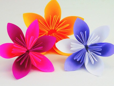 Blume Falten Origami DIY. Schöne Blumen für den Frühling. Ostern Anleitung | deutsch