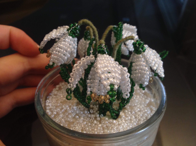 Blumen aus Perlen. Schneeglöckchen, Teil 1.3. Beaded Flowers. Anna's Perlen.