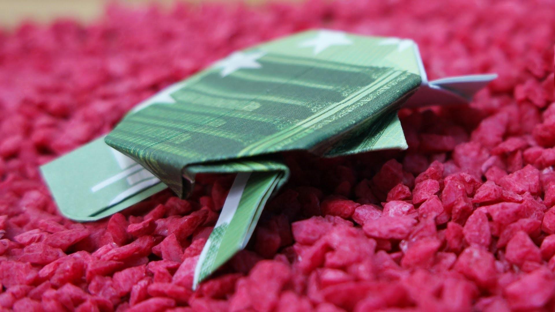 Geldscheine falten Schildkröte, originelles Geldgeschenk, Origami Schildkröte falten, DIY