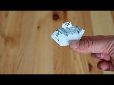 Origami-Faltanleitung für Anfänger - falte ein kleines Hemd aus einem Geldschein