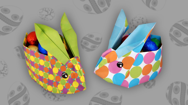 Origami Osterhasenkorb: Easter Bunny Box - Faltanleitung (Live erklärt)