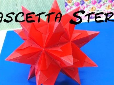 Sterne basteln aus Papier - Bascetta Stern Origami 3D Weihnachtsstern falten Tutorial | deutsch