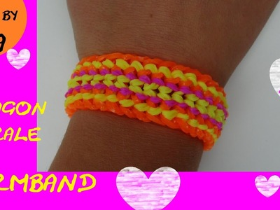 DIY Dragon Scale doppelt 6er Rainbow Loom Armband Anleitung deutsch GABEL - double dragon scale cuff