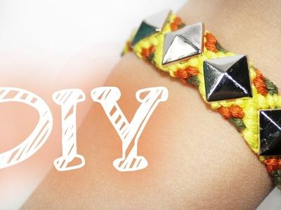 |DIY| Freundschaftsarmband mit Nieten - Knüpfarmband