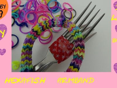 DIY Hexafish Loom Armband Anleitung mit Gabel deutsch - how to make a rainbow loom Hexafish bracelet