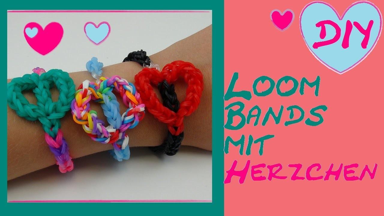 DIY Loom Band mit Herzchen. nur mit Häkelnadel ohne Loom Board. Anleitung deutsch